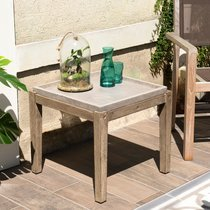 Table d'appoint carrée 50 cm en béton et acacia - BETTY