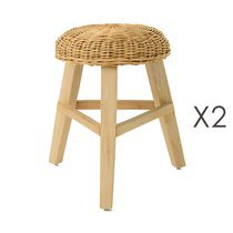 Lot de 2 tabourets en bois et assise en tissage - INDIES