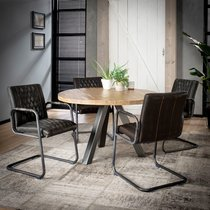 Table ronde 120 cm en manguier naturel et 4 chaises en PU anthracite