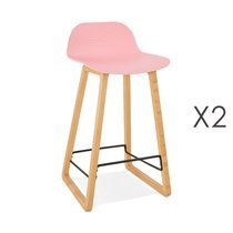 Lot de 2 tabourets de bar H67 cm rose - RIZZO