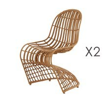 Lot de 2 chaises design 55x65x89 cm imitaion osier naturel