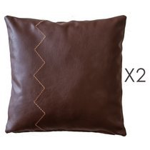 Lot de 2 coussins 45x45 cm en PU marron - LEATHY