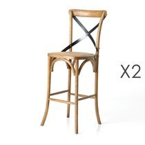 Lot de 2 chaises de bar bistrot 46x42x118 cm en bois naturel