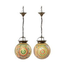 Lot de 2 lampes suspendues 28x28x30 cm en mosaique multicolore