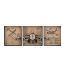 Horloge avion 3 parties 207x12x75 cm décor avions