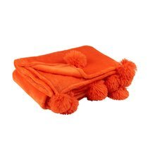 Plaid 130x170 cm en polyester orange avec pompons - PANDO