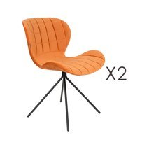 Lot de 2 chaises vintage en velours orange - OMG