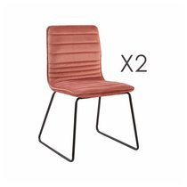 Lot de 2 chaises 63x60x80 cm en velours rose - MANNY