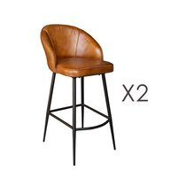 Lot de 2 chaises de bar 49x63x96 cm en cuir camel