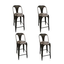 Lot de 4 chaises de bar industrielles 44x47x106 cm en métal - TALY