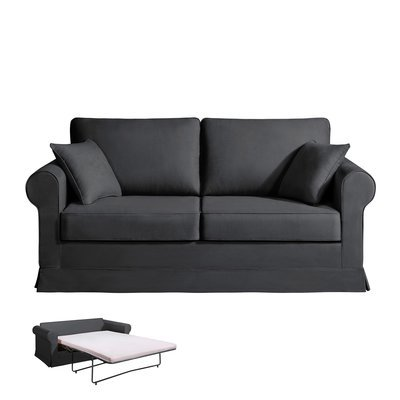 Canapé 2 places convertible - 100% coton - coloris anthracite ADELE