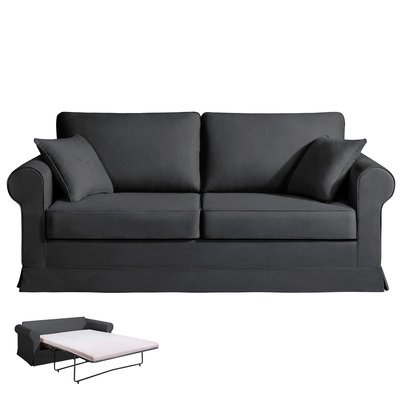 Canapé 3 places convertible - 100% coton - coloris anthracite ADELE