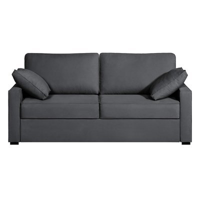 Canapé 3 places convertible - 100% coton - coloris anthracite LOIS