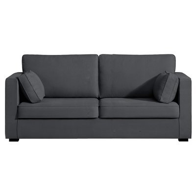 Canapé 3 places fixes - 100% coton - coloris anthracite LOIS
