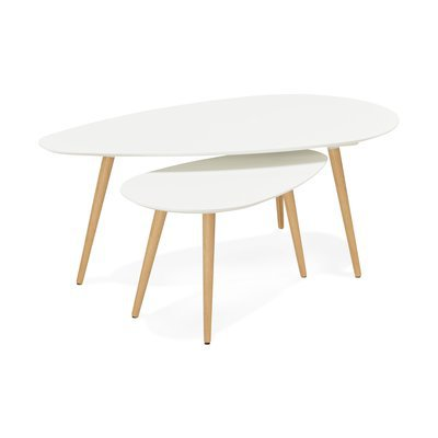 Tables gigognes blanches 116 x 66 x 45 cm - BALTIC
