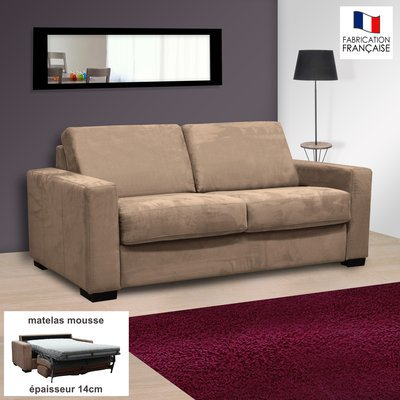 Canapé 2 places convertible 14cm en microfibre sable - LOUISA