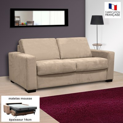 Canapé 2 places convertible 14cm microfibre coloris perle LOUISA