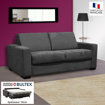 Canapé 2 places convertible bultex microfibre anthracite LOUISA