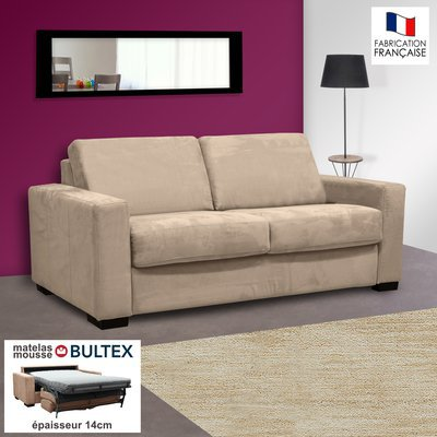 Canapé 2 places convertible bultex microfibre coloris perle LOUISA