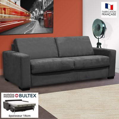 Canapé 3 places convertible bultex microfibre anthracite - LOUISA
