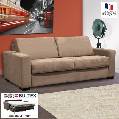 Canapé 3 places convertible bultex microfibre sable - LOUISA