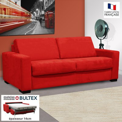 Canapé 3 places convertible bultex microfibre coloris rouge LOUISA