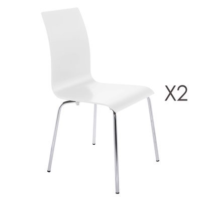 Lot de 2 chaises design 41x48x88cm CLASSICO - blanc