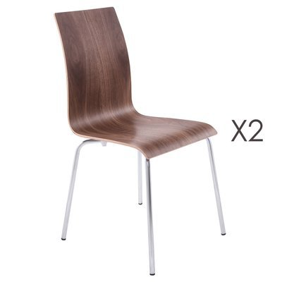 Lot de 2 chaises design 41x48x88cm CLASSICO - marron