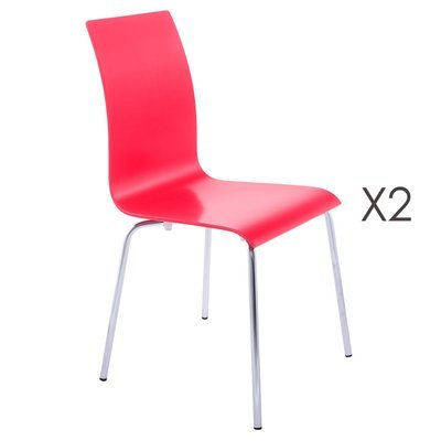 Lot de 2 chaises design 41x48x88cm CLASSICO - rouge