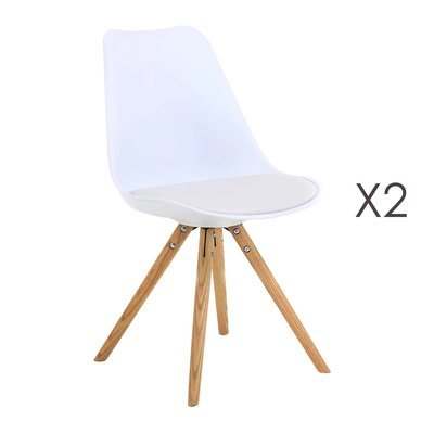 Lot de 2 chaises coins arrondis coloris blanc - LUCIE