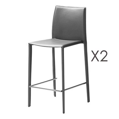Lot de 2 chaises de bar en cuir recyclé coloris anthracite - BORA BORA