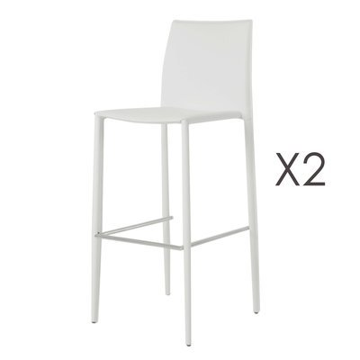 Lot de 2 chaises de bar en simili-cuir coloris blanc - BORA BORA
