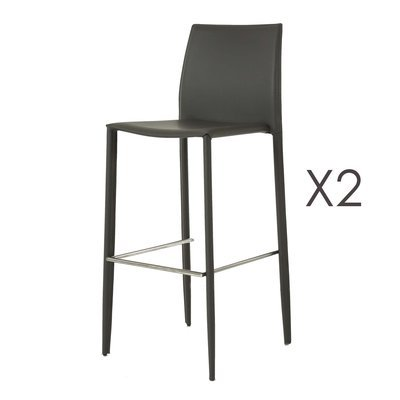 Lot de 2 chaises de bar en simili-cuir coloris gris - BORA BORA