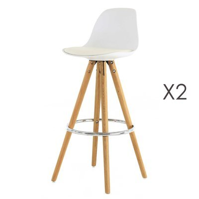 Lot de 2 chaises de bar coloris blanc - CIRCOS