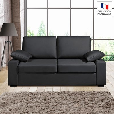 Canapé 2 places fixes - 100% coton - coloris anthracite PLUTON