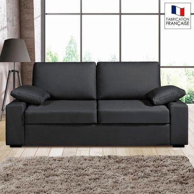 Canapé 3 places fixes - 100% coton - coloris anthracite PLUTON