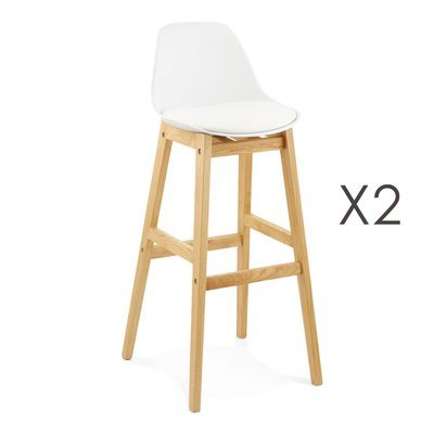 Lot de 2 tabourets de bar design 42x48x102cm blanc - ELO