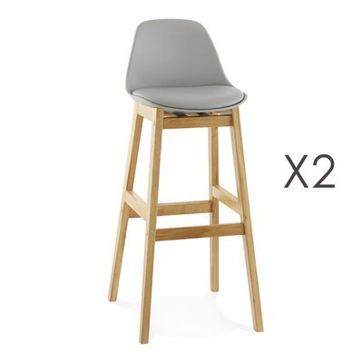 Lot de 2 tabourets de bar design 42x48x102cm - gris ELO