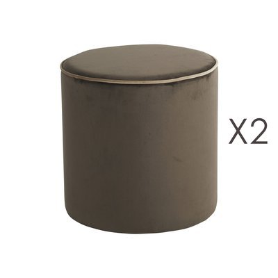 Lot de 2 poufs Countra Marron/Beige Diam40xH40cm