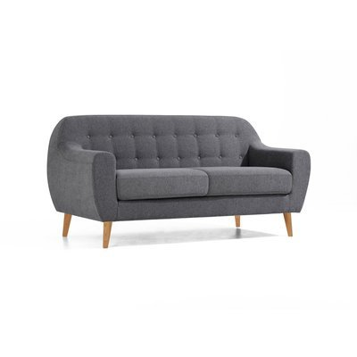 Canapé scandinave 2 places anthracite uni - SCANDI
