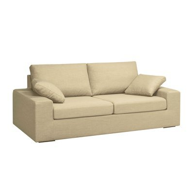 Canapé 3 places fixes en polyester beige - PLUTON