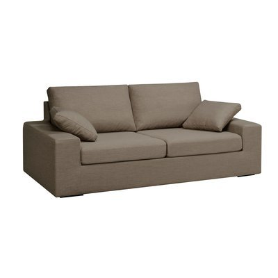 Canapé 3 places fixes en polyester taupe - PLUTON