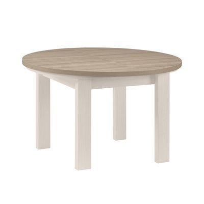 Table ronde + 1 allonge blanc et plateau naturel - CASSANDRE