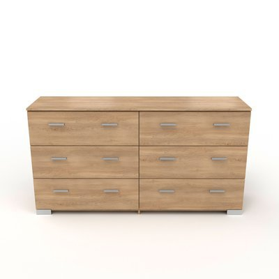 Commode 6 tiroirs naturel - CANDICE