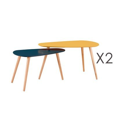 Lot de 2 tables gigognes jaune et gris - BALTIC
