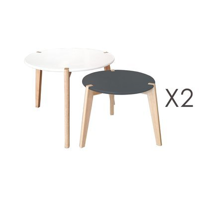 Lot de 2 tables gigognes rondes blanc et gris - BALTIC