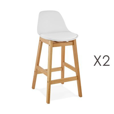 Lot de 2 chaises de bar design 38x86x43 cm blanc - ELO