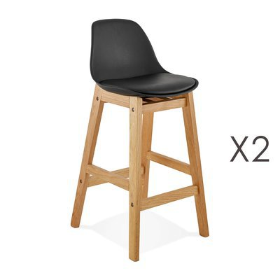 Lot de 2 chaises de bar design 38x86x43 cm noir - ELO