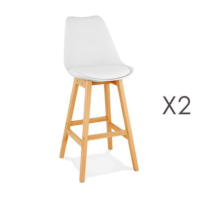 Lot de 2 chaises de bar design 48x112x56 cm blanc - ELO