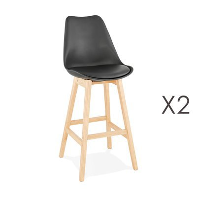 Lot de 2 chaises de bar design 48x112x56 cm noir - ELO
